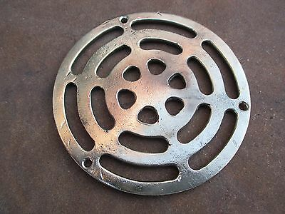 Antique Vintage Strong Wall Stove Pipe Flue Cover Grate Ventilator Vent In Brass