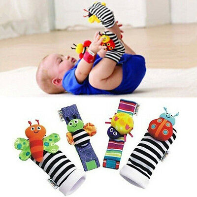 4X Baby Infant Toddler Soft Animal Wrist Bell Handband Foot Socks Rattles Toys R