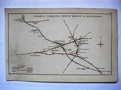 1903 RAILWAY CLEARING HOUSE Junction Diagrams.STOCKPORT AREA.