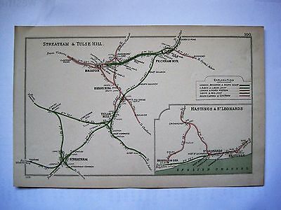 1908 RAILWAY CLEARING HOUSE Junction Diagrams.STREATHAM & TULSE HILL.