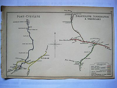 1906 RAILWAY CLEARING HOUSE Junction Diagrams.SHIREOAKS/PONT-CYSYLLTE.