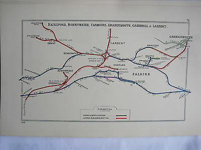1928 RAILWAY CLEARING HOUSE Junction Diagrams FALKIRK AREA.