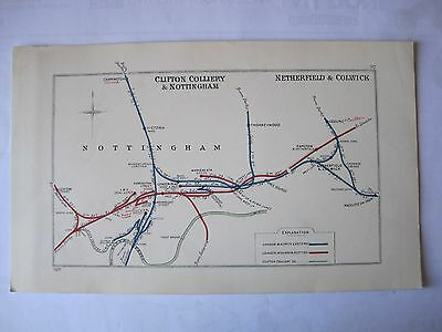 1928 RAILWAY CLEARING HOUSE Junction Diagram No.97 NOTTINGHAM AREA.
