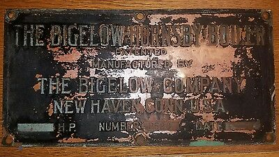 Antique *rare* 1917 Bigelow Hornsby Boiler Embossed Brass Name Plate Sign