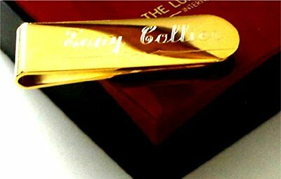 Gold Money Clip Custom Engraved Name personalised Cash Card Clip 24k Gold with