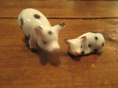 Miniature Spotted Pig Mom baby White Black Spots Porcelain Ceramic Doll House