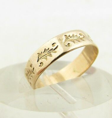 Antique Victorian Rose Gold 4.75mm Eternity Wedding Anniversary Band Ring 5.25
