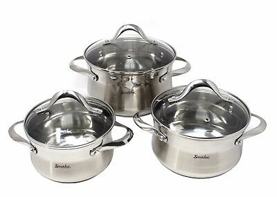 SMAKFEST 6 PC 5-Layered Bottom Stainless Steel Cookware Set Induction Compatible