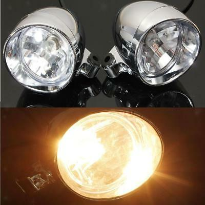 2x Chrome Motorcycle Headlight Touring Motorbike Bullet Fog Light for Harley