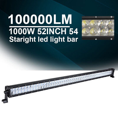 500W 4D CREE 52INCH LED Straight Light Bar Combo Spot Flood Offroad Fog Driving