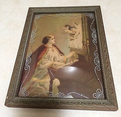 St. Cecelia Lithograph With Bubble Glass Frame