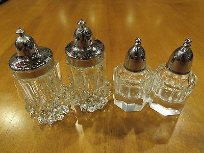 Lot of 2 Sets of Vintage Cut Glass Salt and Pepper Shakers