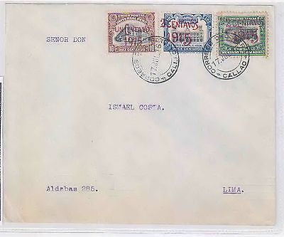 pe303 PERU: Sc 189 + 193 plus 194, var.inverted ovpt. on envelope sent from Call