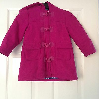 Marks & Spencer Girl's Winter Jacket 2-3 Years Wool Blend Pink Good Condition