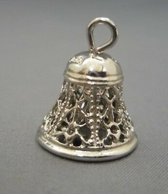 Sterling Silver Charm Pendant Filigree Bell w/movable Clapper Bracelet Dangle