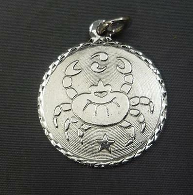 Sterling Silver Charm Pendant Round Cancer Zodiac Sign Bracelet Dangle