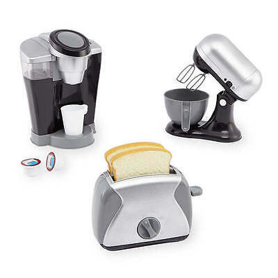 NEW Metallic Appliance Set Just Like Home 3-pc Play Mixer Toaster Coffee Maker