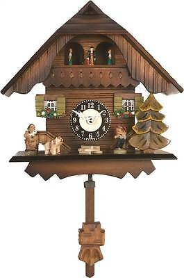 """7"""" Westminister Cuckoo Painted Chalet with Dancers Clock [ID 1787]"""