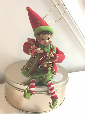"""American Silkflower 10"""" Christmas Pixie Elf with Bells Ornament NEW w/Tag"""