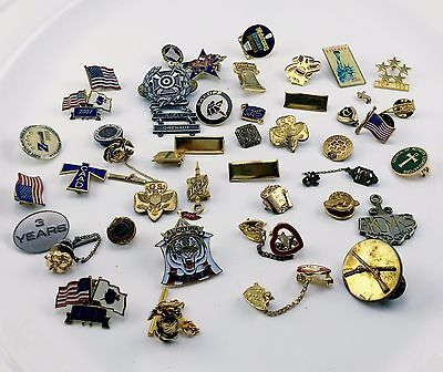 Vintage Big Lot Pins Brooches Military Girl Scout More Some Very Old Good Deal