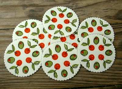 Lot of EIGHT Unused VINTAGE Paper Coasters, OLIVES & CHERRIES Design