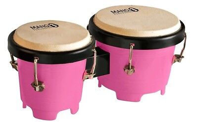 Mano Percussion Mini Bongo Drums, 4.5 & 5 Inch Tunable Heads Pink