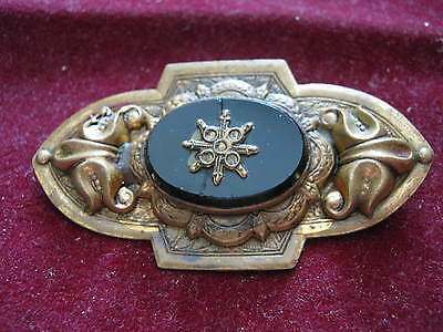 """Embossed Gold over Brass 2 1/2"""" VICTORIAN EDWARDIAN MOURNING BROOCH, Onyx LQQK!"""
