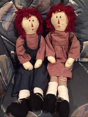 "SALE Vintage Raggedy Ann and Andy Dolls Set Heavy Bottoms 24-25"" tall"