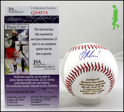 Joe Mauer Autographed Signed 2009 Al Mvp Stat Baseball Ball Twins Jsa Coa