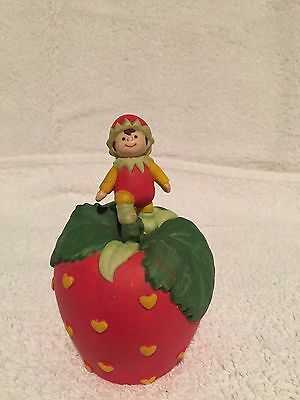 1993 Avon Strawberry Hearts Delight Porcelain Bell w/ Pixie Elf Signed