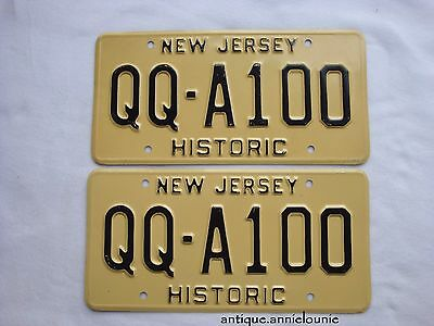 *NEW JERSEY Vintage HISTORIC License Plate PAIR # 1QQ-A100