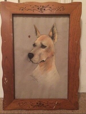 Mid Century DOG Portrait Pastel Drawing GREAT DANE(?) 1955 Signed Period Frame