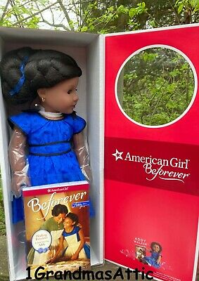 American Girl Addy Walker Doll and Book 18 inches NIB NRFB Blue Dress Boots
