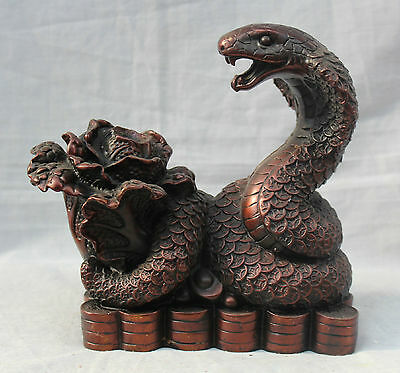Chinese Fengshui Bronze Zodiac Year Snake Bring Money Wealth ( cabbage ) Statue