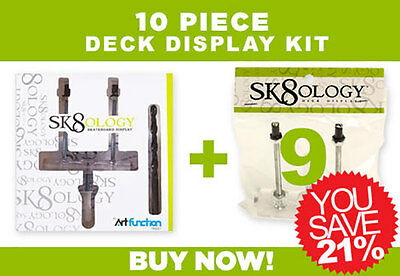 SK8OLOGY SKATEBOARD DECK DISPLAY 10 Pc Kit Floating wall Mount