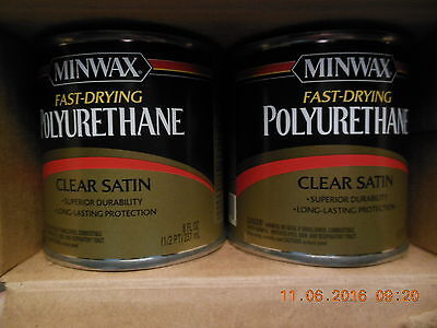 4 Pack- Minwax 23010 Fast-Drying Polyurethane in Clear Satin  (1/2 Pt Each)