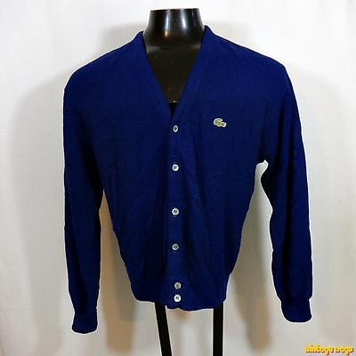 vtg USA 80s IZOD LACOSTE Orlon Acrylic Cardigan Sweater Jacket Mens Size M Blue