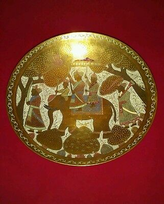 Fine Antique Vintage Islamic Middle Eastern Brass Elephant Bowl Hand Painted