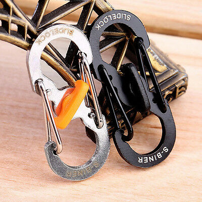 10 S Shape 8 Type Carabiner Key Chain Hook Clip Buckle S-biner Slidelock Outdoor