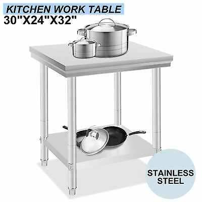 "24""x30"" Stainless Steel Kitchen Work Prep Table Cafeteria Restaurant Commercial"
