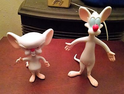 """Vintage 1997 Pinky And The Brain Bendable Toy Figures Animaniacs 7"""" and 5"""""""