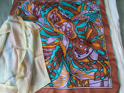 Silk Burmel Twill Vintage Scarf Lot Colorful Abstract Monique Martin Lilac Japan