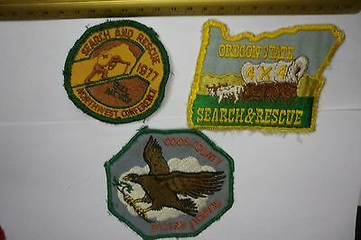 x3 OREGON  NORTHWEST COOS COUNTY SEARCH AND RESCUE VINTAGE PATCHES