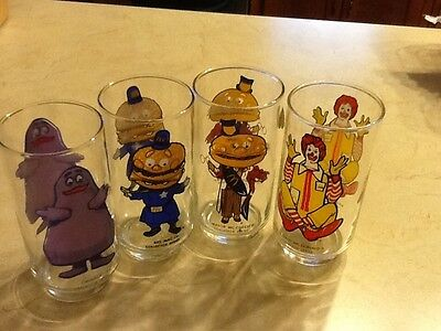 Lot Of 4 Vintage Mcdonalds Collector Series Glasses 1975