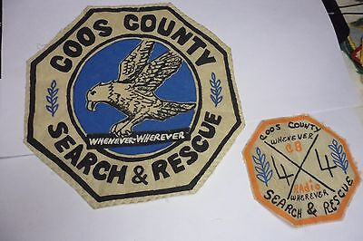 x2 OREGON  NORTHWEST COOS COUNTY SEARCH AND RESCUE VINTAGE PATCHES