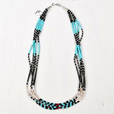 Native American Paul Tenorio 5 Strand Fine Heishi Turquoise Coral Shell Necklace