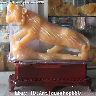 """24"""" Chinese Hand Carved Natural Yellow Jade Animal Tiger Tigers Beast Statue"""
