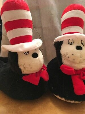 Dr Seuss 1994 Cat In The Hat slippers Small 5-6 1/2 Euc