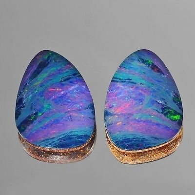 13.85ct Nice Fancy Pair Red Blue Green Flash Natural Opal Doublet Loose Gemstone