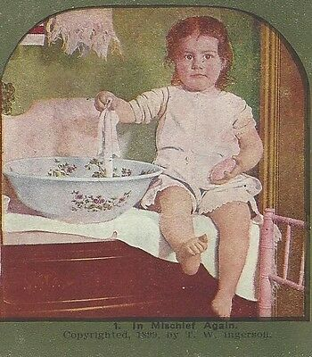 """1899, """"In Mischief Again"""", Vintage Comic Stereoview"""